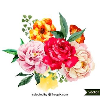 花の水彩画の花束