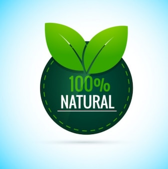 100% Natural Round Label