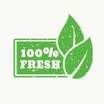 100 fresh, green stamp