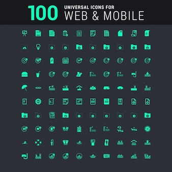 100 universal icon set for web and mobile in green