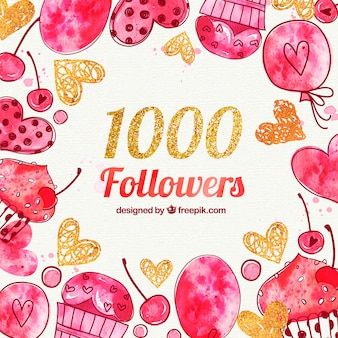 1000 followers background with hearts and watercolor candies