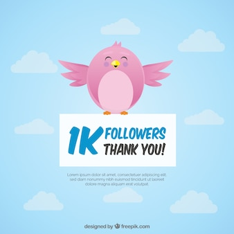 1k follower background with pretty bird