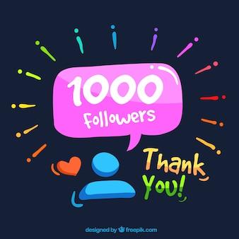1k followers speech bubble background