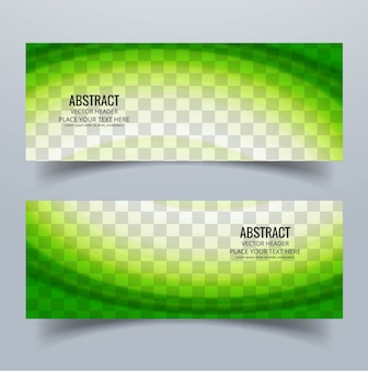 2 banners with green wavy shapes