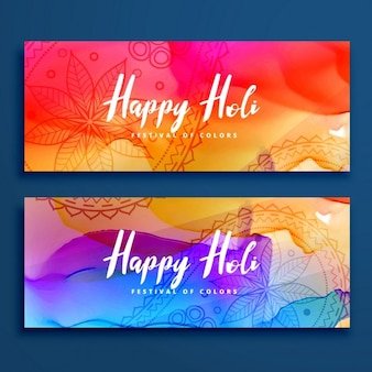 2 banners with watercolors, holi festival