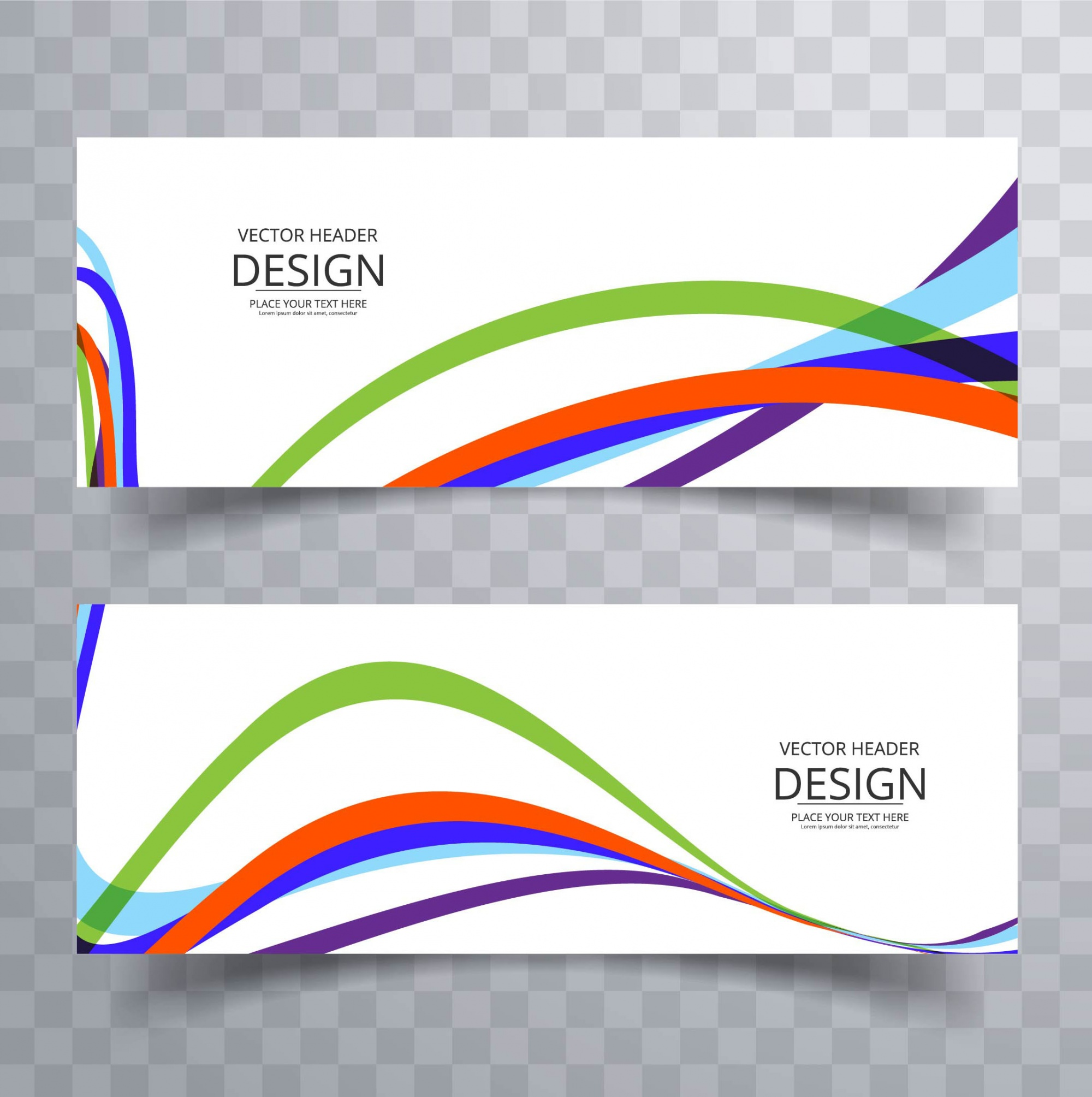 2 banners with wavy lines