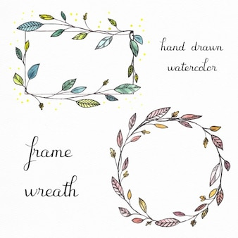 2 hand drawn floral frames