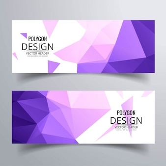 2 polygonal purple banners