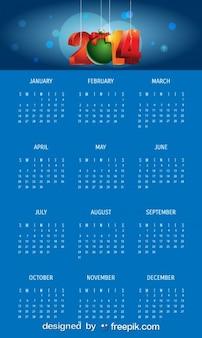 2014 Blue Calendar with Christmas Ball