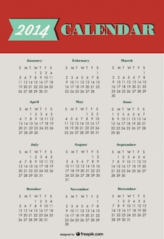 2014 Calendar Green Red Design
