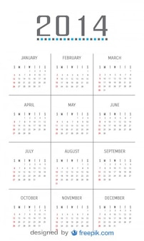 2014 Calendar with Minimalist Design