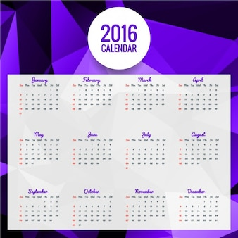 2016  polygonal purple calendar