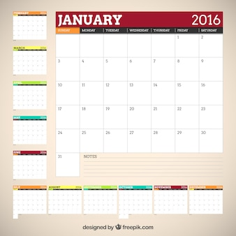 2016 calendar in colors