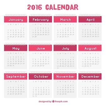 2016 calendar in pink tones