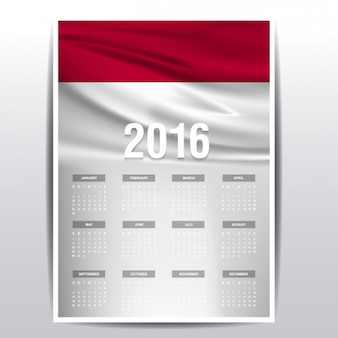 2016 calendar of Indonesia