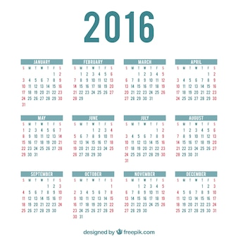 Calendar for months of the year 2016