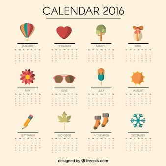 2016 calendar with cute icons