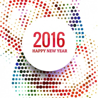 2016 happy new year with colorful dots