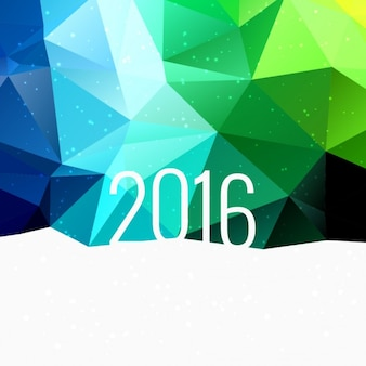 2016 in colorful low poly background