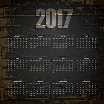 2017 brick texture calendar
