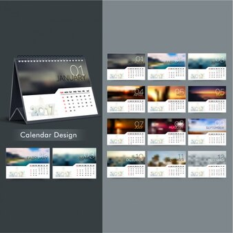 2017 calendar in blurred style
