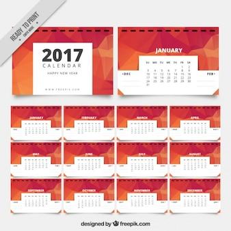 2017 calendar in polygonal style