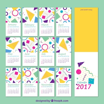 2017 calendar of geometric shapes