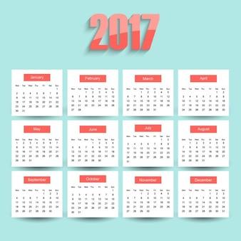 2017 calendar on a blue background