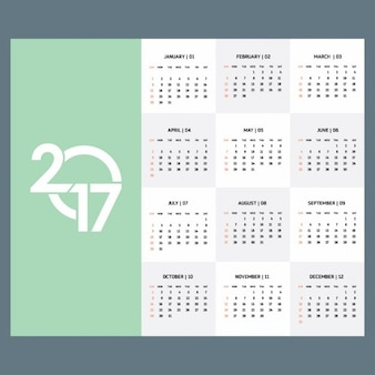 2017 calendar template in green color