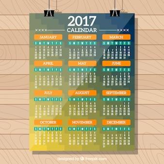 2017 calendar template in modern style