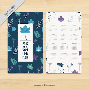 2017 calendar template of leaves