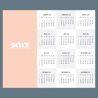 2017 calendar template of pastel color