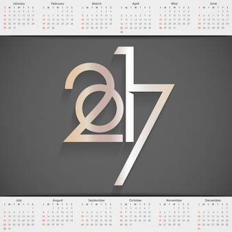 2017 calendar with a black background