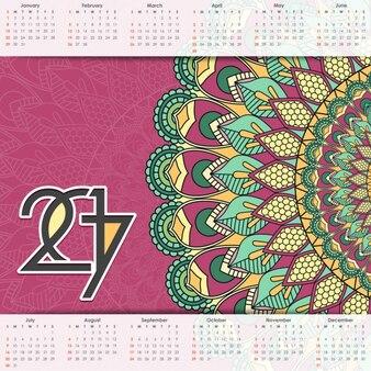 2017 calendar with a mandala