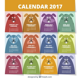 2017 calendar with colorful dogs