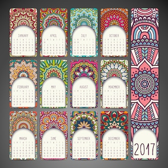 2017 calendar with decorative mandalas