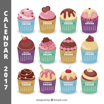 2017 calendar with delicious muffins
