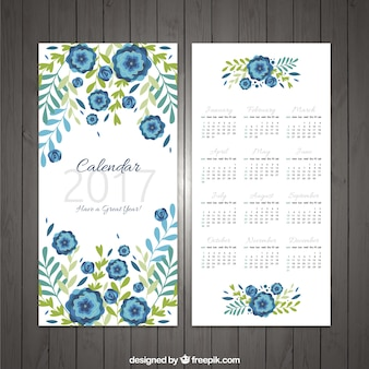 2017 calendar with floral decoration