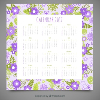 2017 calendar with flowers and leaves