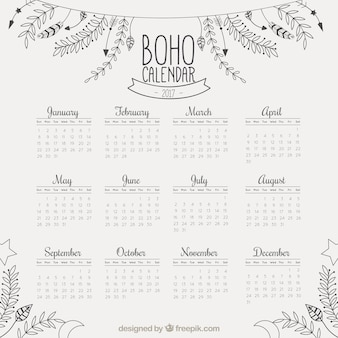 2017 calendar with hand drawn floral decoration
