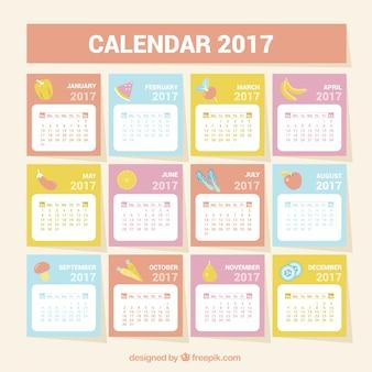 2017 calendar with healthy food