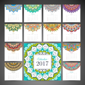 2017 calendar with mandalas