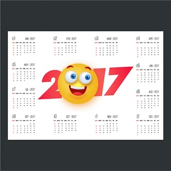 2017 calendar with smiling emoticon