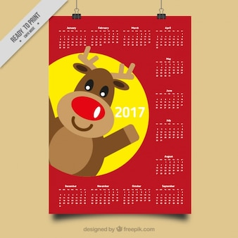 2017 calendar with smiling reindeer