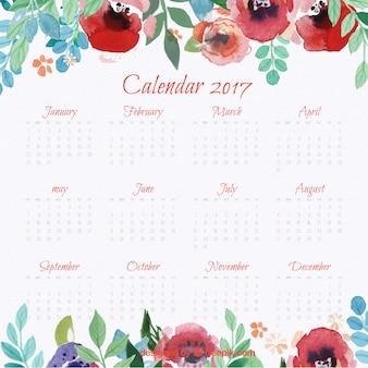 2017 calendar with watercolor flowers
