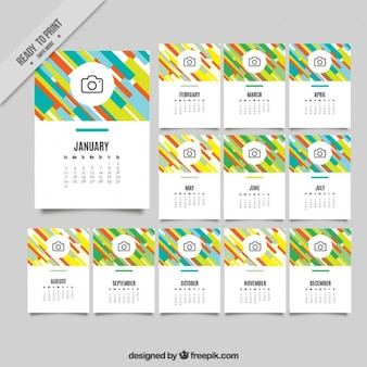 2017 colorful abstract stripes calendar