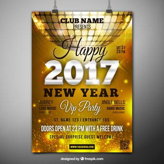 2017 golden poster with disco ball