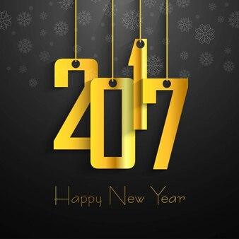 2017 golden snowflakes background