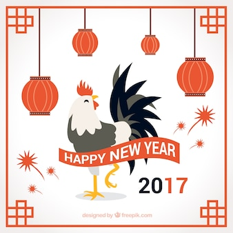 2017 new year background of rooster with lanterns
