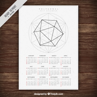 2017 new year calendar template with geometric shape
